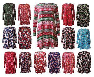 Womens Christmas Long Sleeve Santa Penguin Reindeer Tartan Xmas Swing Dress Top