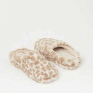 Debenhams - Multicoloured Faux Fur Giraffe Print Mule Slippers Size 5-6