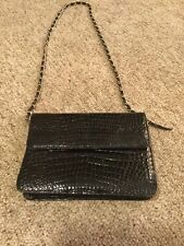Vintage Kaiyo Black 100% Alligator Handbag Purse With Gold Chain Strap