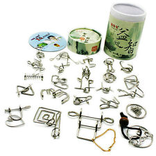 24PCS Metal Wire Puzzle IQ Brain Teaser Puzzles China Game Barrel Adults Kids