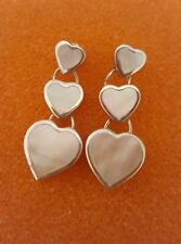 925 Sterling Silver Mother Of Pearl Earrings 3 Hearts Drops with Gift Box