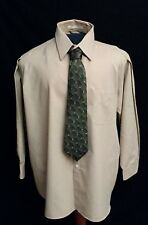 Men's Perry Ellis, Tan & Gray Striped Dress Shirt, Size 18.5, 32/33, Big XXL