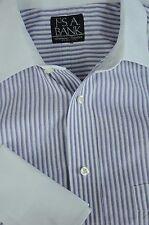 Jos un Banco para Hombre Morado & Blanco Algodón de Rayas Camisa Vestir 15 x 36