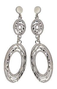 Ohrhänger Silber 925 rhodiniert ovale lange 5,3 cm Ohrringe Design Ohrstecker