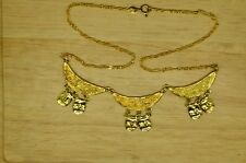 "16.5"" GOLD PLATED CHAIN & DANGLING MASK DESIGN CHOKER NECKLACE #X20837"
