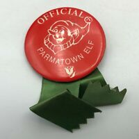 Vtg Christmas Official Parmatown Elf Cleveland Mall Advertising Button Pin M2