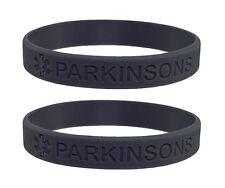 X2 Grey PARKINSONS Awareness Silicone Wristband Medical Alert Bracelet UK