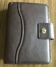 Franklin Covey Planner Brown ClassicLeather Binder Organizer Silver Buckle