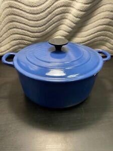 Le Creuset Blue Enamel Cast Iron Round Large Dutch Oven Pot With Lid
