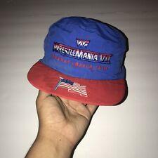 Vintage WWF WrestleMania VII 7 Hat Snap Back Cap 1990 Blue Rare Attendee Merch