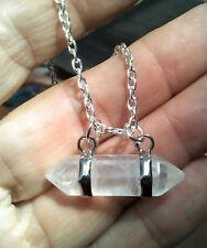 BWT- Genuine Natural double Hex quartz crystal point Stone Pendant Ln1361 Unisex