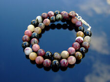 Pink Tourmaline Natural Gemstone Necklace 8mm Beaded Silver 16-30inch Healing