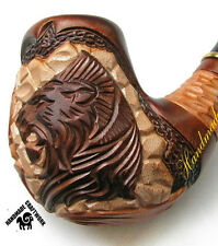"HAND CARVED Tobacco Smoking Pipe/Pipes ""LION HEAD"" fits 9mm Filter + GIFT!!!"