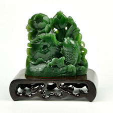 Natural Green Nephrite Jade Koi Fish & Lotus Flower Statue Sculpture Carving