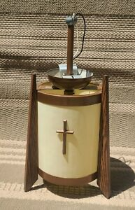 Vintage Hanging Church Cathedral Light with Wood Trim - Charlotte Mi Untested