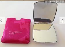 """New Mary Kay Dual Mirror Compact 4"""" Silver w/ Satin Pink Case Brand NEW"""