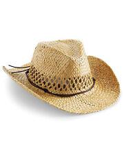 Beechfield STRAW COWBOY HAT RETRO WESTERN WEST FANCY DRESS PARTY COSTUME MEN NEW