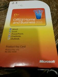 Microsoft Office Home & Business 2010 Product Key Card Genuine COA not in use