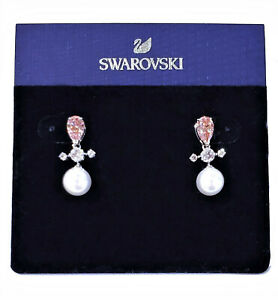 Swarovski Pink Perfection Pearl Drop Earrings Silver-Tone Rhodium #5516592 NEW