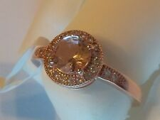 New Rose Gold plated .925 Sterling Silver cocktail Ring Cz Stones Size 6