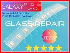 10 Tasti POWER ON/OFF 4mm Pulsante Accensione per SAMSUNG GALAXY S2 S3 S4 Note 2