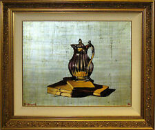Michael Huggins BOOKS, SILVER PITCHER Original Oil Painting on Silver Leaf!