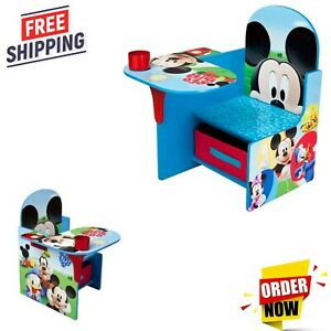 Children Chair Desk with Storage Mickey Mouse Kids Home School,FREE FAST SHIP