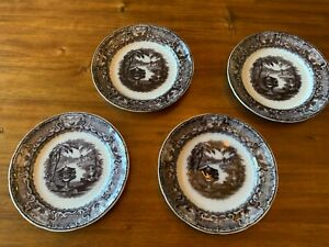 Antique Ironstone Mulberry Washington Vase Black Transferware 4 Dinner Plate Set