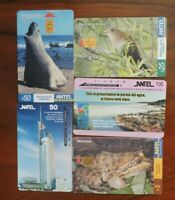 5 ASSORTED PHONECARDS FROM URUGUAY NO VALUE COLLECTORS ITEM. LOT 1