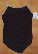 NWT Body Wrappers Black Velvet Glittered Camisole Leotard Girls Medium 8-10 3370