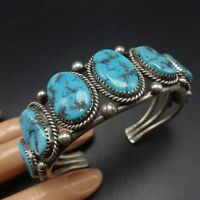 Vintage NAVAJO Sterling Silver & Old Kingman TURQUOISE Row Cuff BRACELET 54.9g
