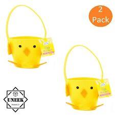 2x Chick Treat Easter Bucket Felt Treat Basket Handle Egg Hunt Soft Party G1898