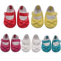 18 Inch Doll Shoes Girl Bow Colourful Glitter Dress Shoes Handmade Cute X8Q3M