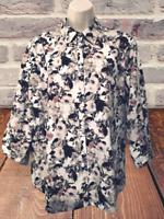 Lands' End Women's Blouse Size XL (16) Floral Long Sleeve Button Down Shirt
