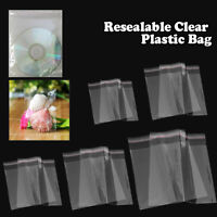1.5Mil Clear Reclosable Self Adhesive Lip Tape Poly Plastic Bags, Various Sizes