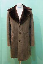Orig vintage Lamm-Fell Mantel shearling ca 54/L Kürschner echt Leder braun Herre