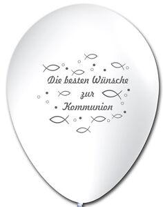 10 Luftballons Die besten Wünsche zur Kommunion, WEIß, ca. 30 cm