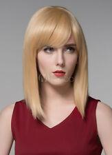 100% Real Hair! Light Gold Blonde Human Hair Wig Bangs Straight Medium Wig
