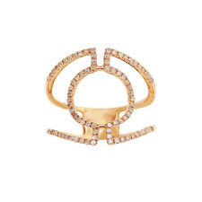 Wide 14K Rose Gold Round Diamond Cocktail Circle Right Hand Ring