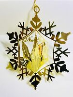 New York City Christmas Ornament Gold Plated Brass Souvenirs Gift Collectible