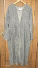 Flax Gray Linen Dress Pockets Lagenlook Maxi Empire cottagecore minimalist M