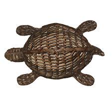 "Single 14"" Sea Turtle Wicker Rattan Wall Home Decor Hanging See Through Basket"