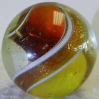 #12669m Huge 1.37 Inches Rare German Handmade 2 Color Ribbon Lutz Marble