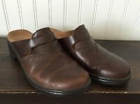 CLARKS Brown Leather Slides Mules Clogs Slip On SHOES Womens SIZE 7 M