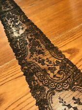Elegant Ornate Antique Vtg 1880's Goth Handmade Lace Black Chantilly Lace Scarf