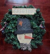 """Christmas Wreath Holiday Snowman Pine Wreath Country Green Red Blue Check 20"""""""