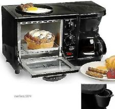 3-in-1Multifunction Breakfast Station 4-Cup Coffee Maker Toaster Egg Ovens Black