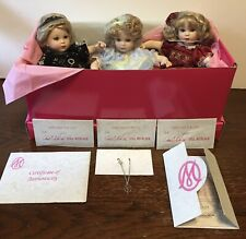 New In Box MARIE OSMOND M'Lissa Virginia TINY TOT TRIO Porcelain Dolls Necklaces