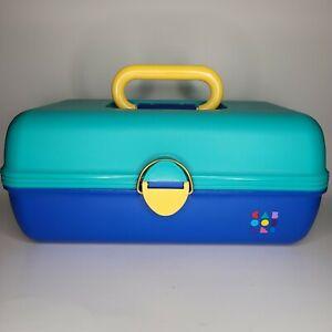 CABOODLES Make Up Storage Case Large Blue Green Yellow Model 2602 USA Vintage