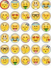30 PRECUT Emoji Smile Face Phone Edible Cupcake Topper Party Decoration